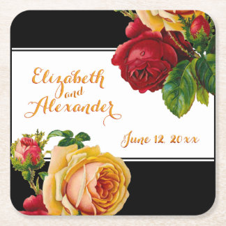 Red and Yellow Roses Vintage Bohemian Custom Square Paper Coaster