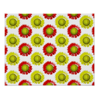 Red and Yellow Softball Flower Pattern Poster
