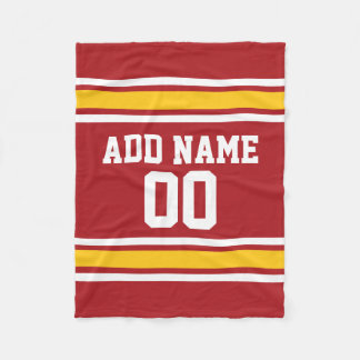 Red and Yellow Sports Jersey Custom Name Fleece Blanket