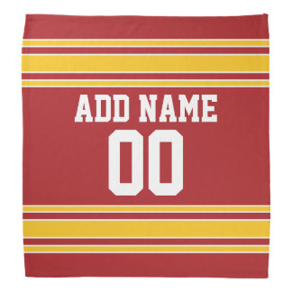 Red and Yellow Sports Jersey Custom Name Number Kerchief