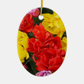 Red and yellow spring tulips ceramic oval decoration