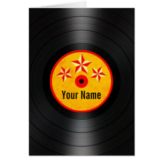Red and Yellow Stars Personalized Vinyl Record Card