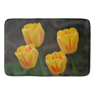 Red And Yellow Striped Tulips Bath Mat