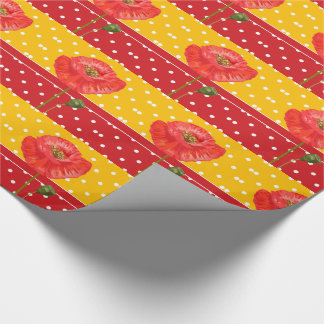 Red and Yellow Stripes of Polka Dots with Poppies Wrapping Paper