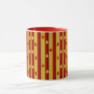 Red and Yellow Stripes with Leaves Combo Mug