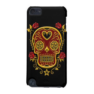 Red and Yellow Sugar Skull with Roses on Black iPod Touch (5th Generation) Cover