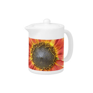 Red and Yellow Sunflower Teapot