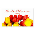 red and yellow tulips - florist pack of standard business cards