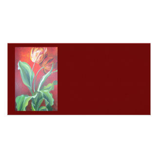 Red and Yellow Tulips Personalised Photo Card