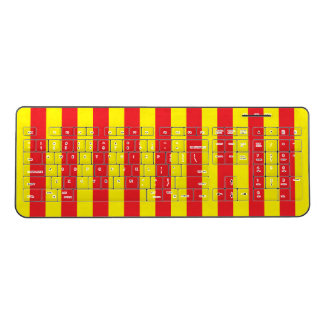 Red and Yellow Vertical Stripes Wireless Keyboard