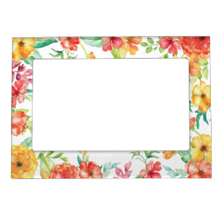 Red and Yellow Watercolor Flowers Magnetic Picture Frame