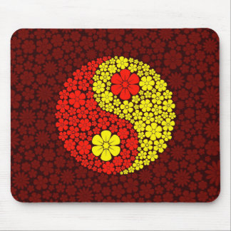 Red and Yellow Wild Flowers Yin Yang Mousepads