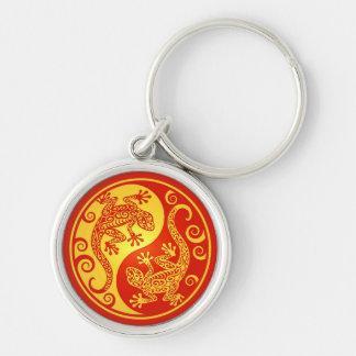 Red and Yellow Yin Yang Geckos Key Ring