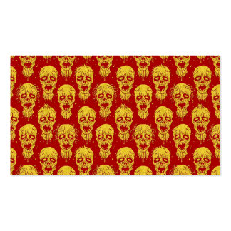 Red and Yellow Zombie Apocalypse Pattern Business Card Templates