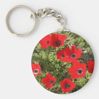 Red Anemone of Adonis Basic Round Button Key Ring