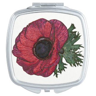 Red anemone Square Compact Mirror