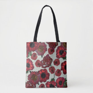 Red anemones and roses Tote Bag