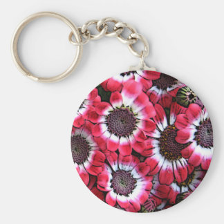 Red Anemones Basic Round Button Key Ring