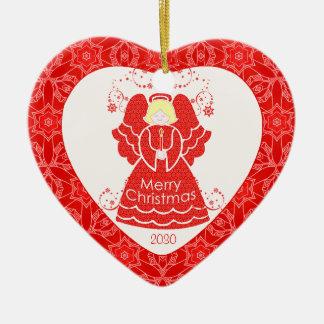 Red Angel Christmas Heart Christmas Ornament