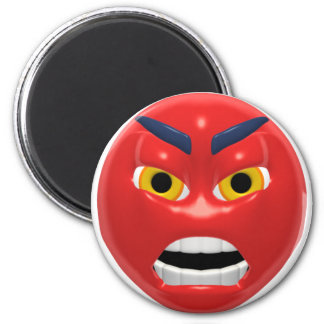 red angry smiley 6 cm round magnet