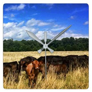 Red Angus Baby Calf Wall Clock