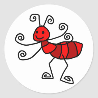 Red ant classic round sticker