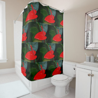 Red Anthruim Flower Shower Curtain