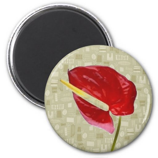 Red Anthurium on Taupe Barkcloth 6 Cm Round Magnet