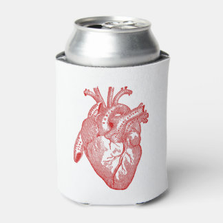 Red Antique Anatomical Heart Can Cooler