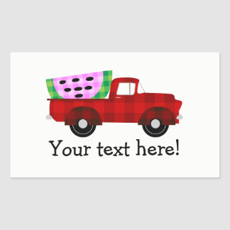 Red Antique Pickup Truck and Giant Watermelon Rectangular Sticker