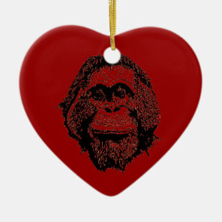 Red Ape Holidays Double-Sided Heart Ceramic Christmas Ornament