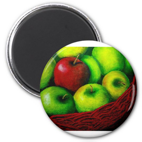 Red Apple 6 Cm Round Magnet