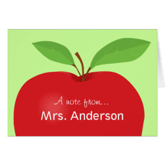 Red Apple A note from teacher notecard Greeting Cards