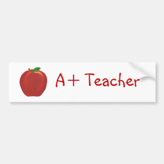 Red Apple, A+ Teacher bumper stickers
