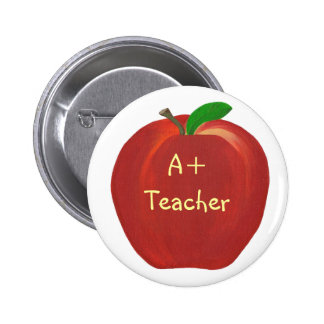 Red Apple, A+ Teacher pin on buttons