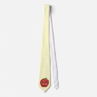 Red Apple, A+  Teacher ties, single apple Tie