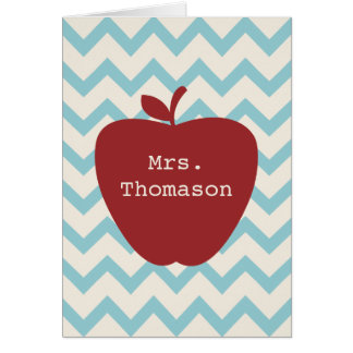 Red Apple Aqua Chevron Teacher Notecard