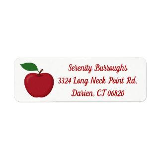 Red Apple - Autumn, Fall Wedding, Party, Teacher Return Address Label