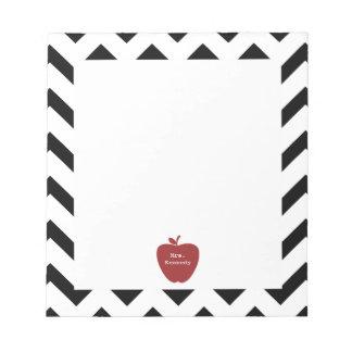 Red Apple Black Chevron Teacher Notepad