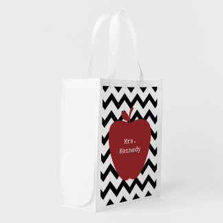 Red Apple Black Chevron Teacher Reusable Grocery Bag