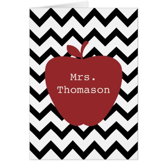 Red Apple Black & White Chevron Teacher Card