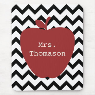 Red Apple Black & White Chevron Teacher Mouse Mat