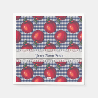 Red Apple Blue Plaid Disposable Serviette
