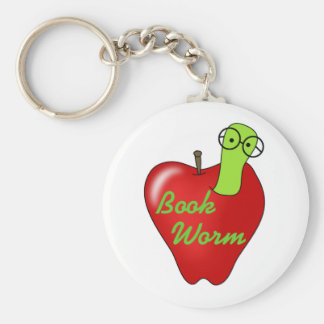 Red Apple Book  Worm Basic Round Button Key Ring