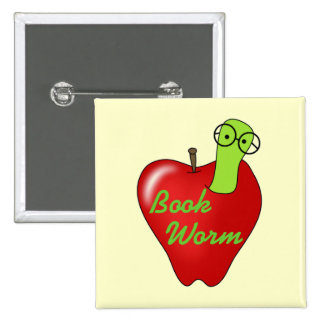 Red Apple Book Worm Tshirts and Gifts Pinback Button
