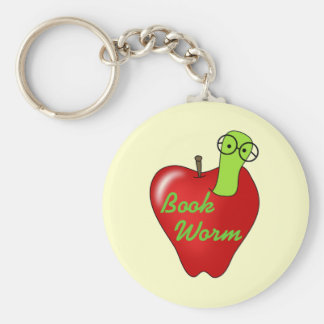 Red Apple Book  Worm Tshirts and Gifts Basic Round Button Key Ring