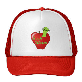 Red Apple Book Worm Tshirts and Gifts Mesh Hats