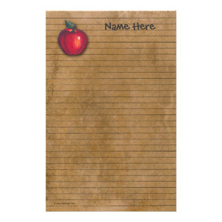 Red Apple Brown Stationery