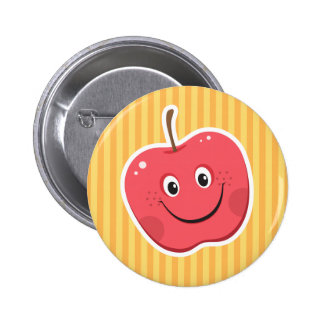 Red apple cartoon character button