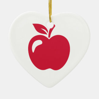 Red apple ceramic heart decoration